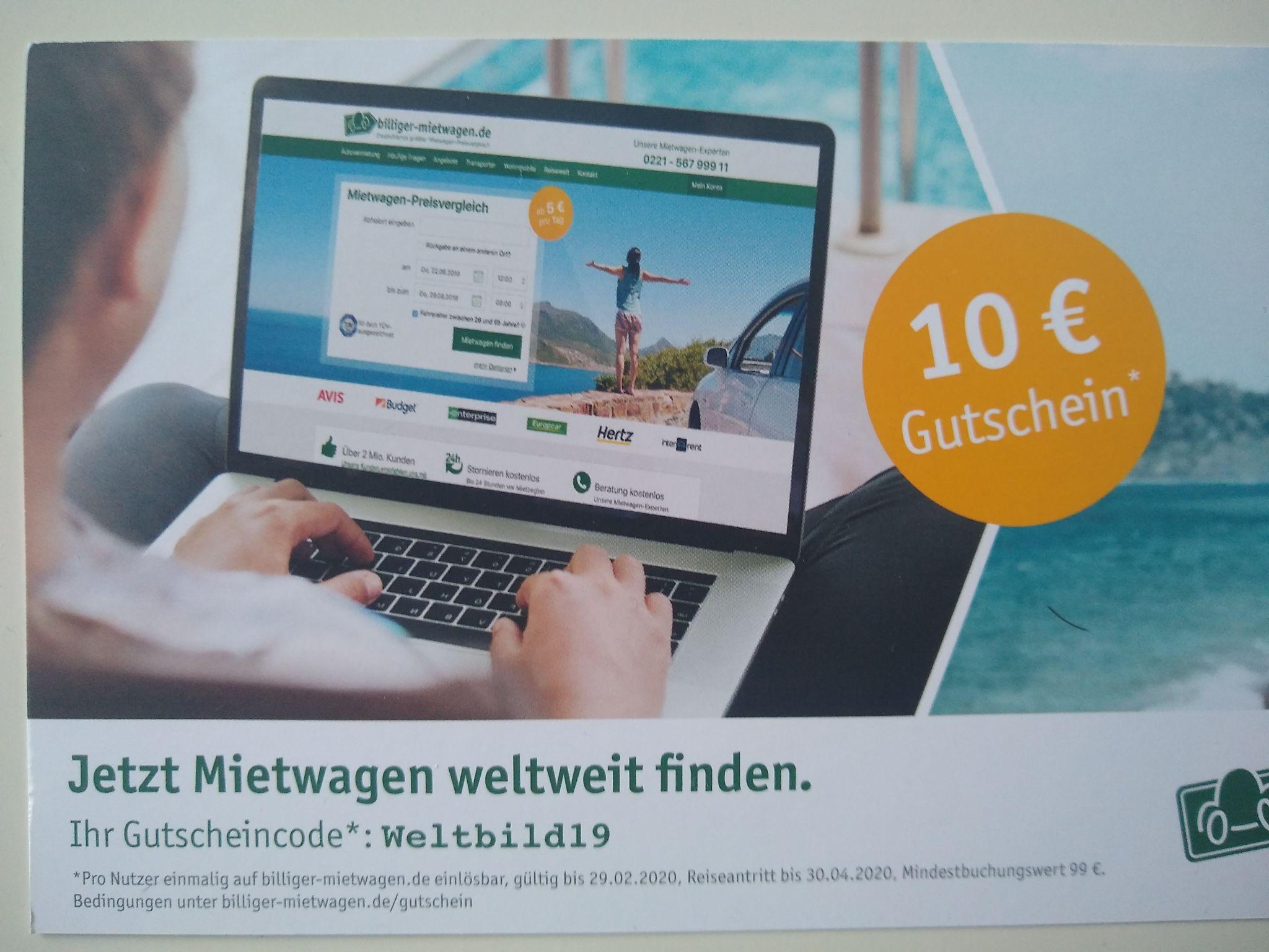 Billiger-Mietwagen.de Ab 99 € gibt's 10 € Rabatt.