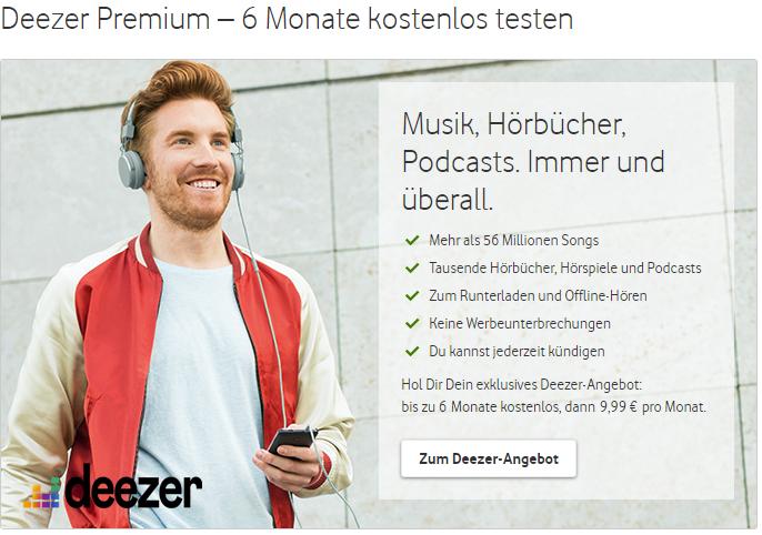 Deezer Premium 6 Monate kostenlos für Vodafone Mobilfunk-Kunden