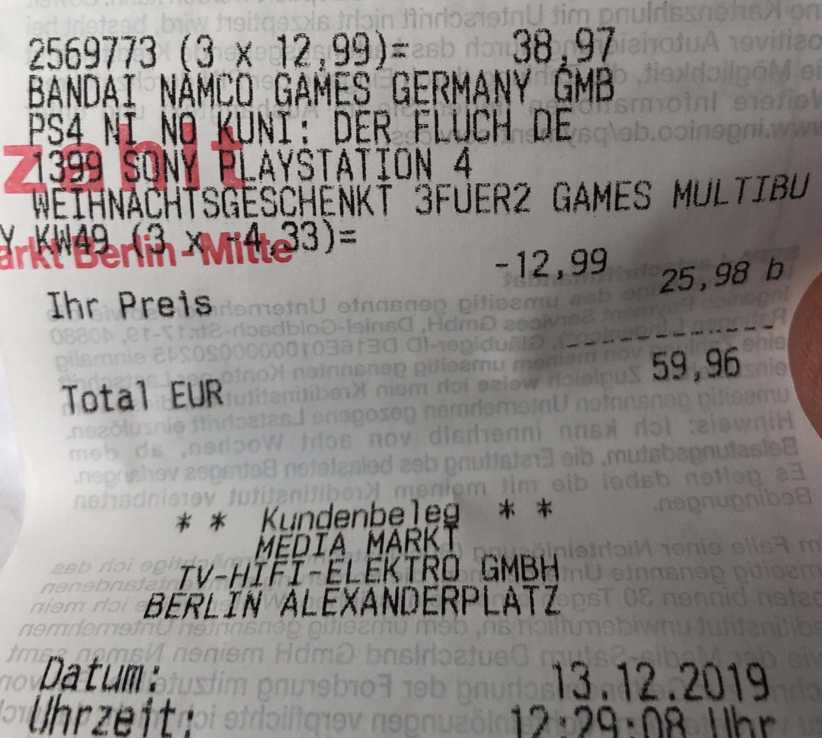 [Lokal?] Berlin Media-Markt Alexanderplatz Ni No Kuni 1 PS4 Fluch Der Weißen Königin Remastered