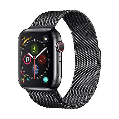 Apple Watch Series 4 44mm LTE Edelstahl schwarz mit Milanaise Armband