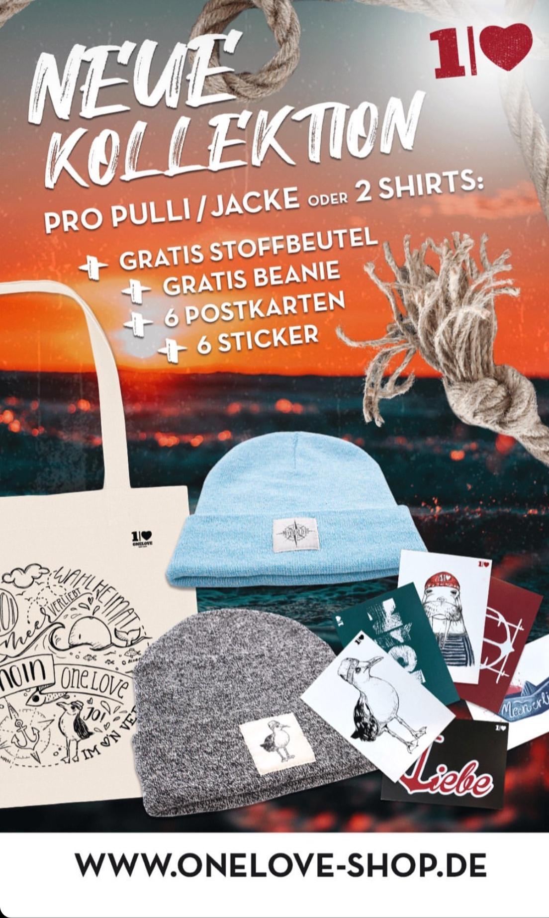 25% im ONELOVE Shop/Fairtrade Kleidung + Gratis Mütze und Stoffbeutel bei Pulli/Jacke Kauf