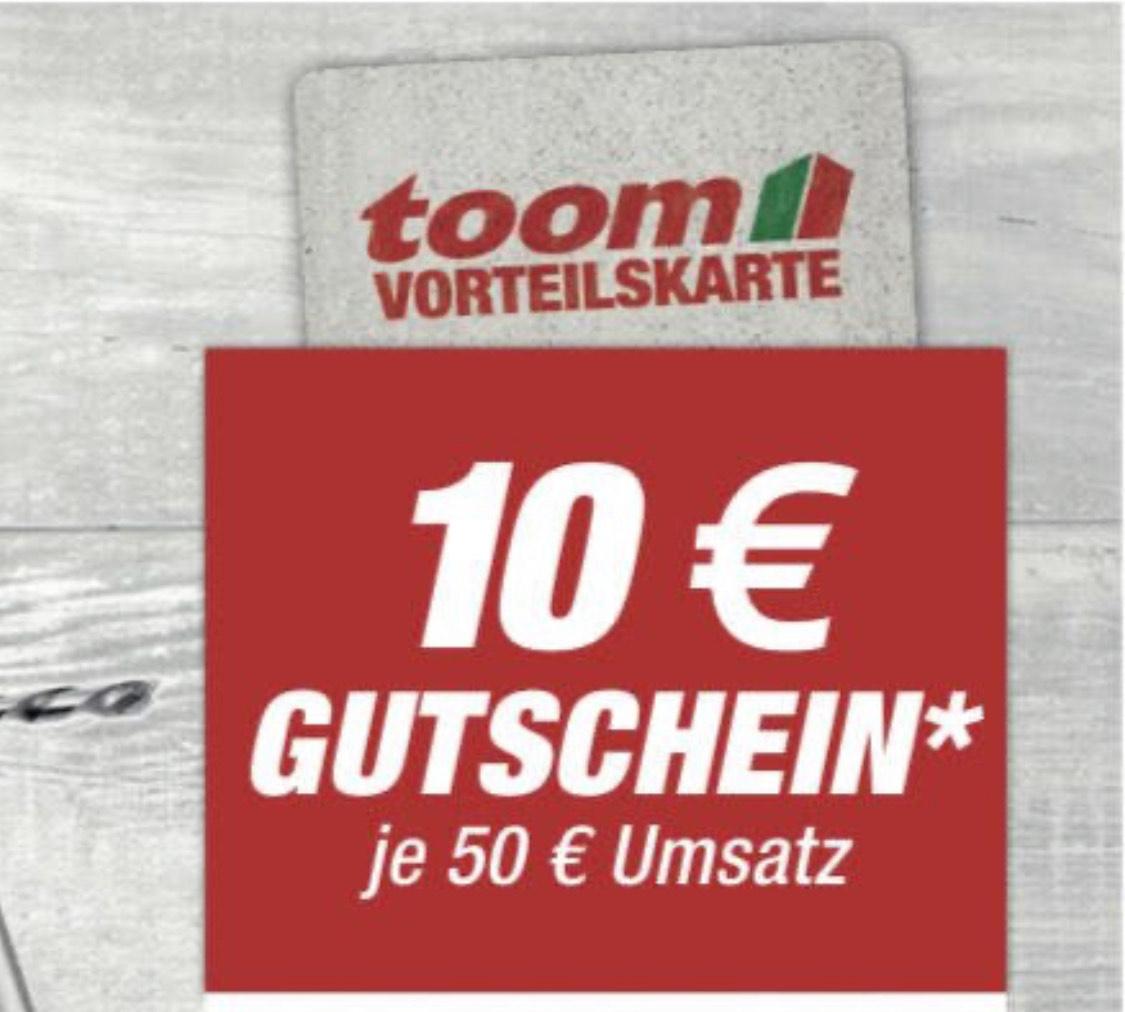 Toom 10€ GS ab 50€ Umsatz (nur im Markt) mit Vorteilskarte