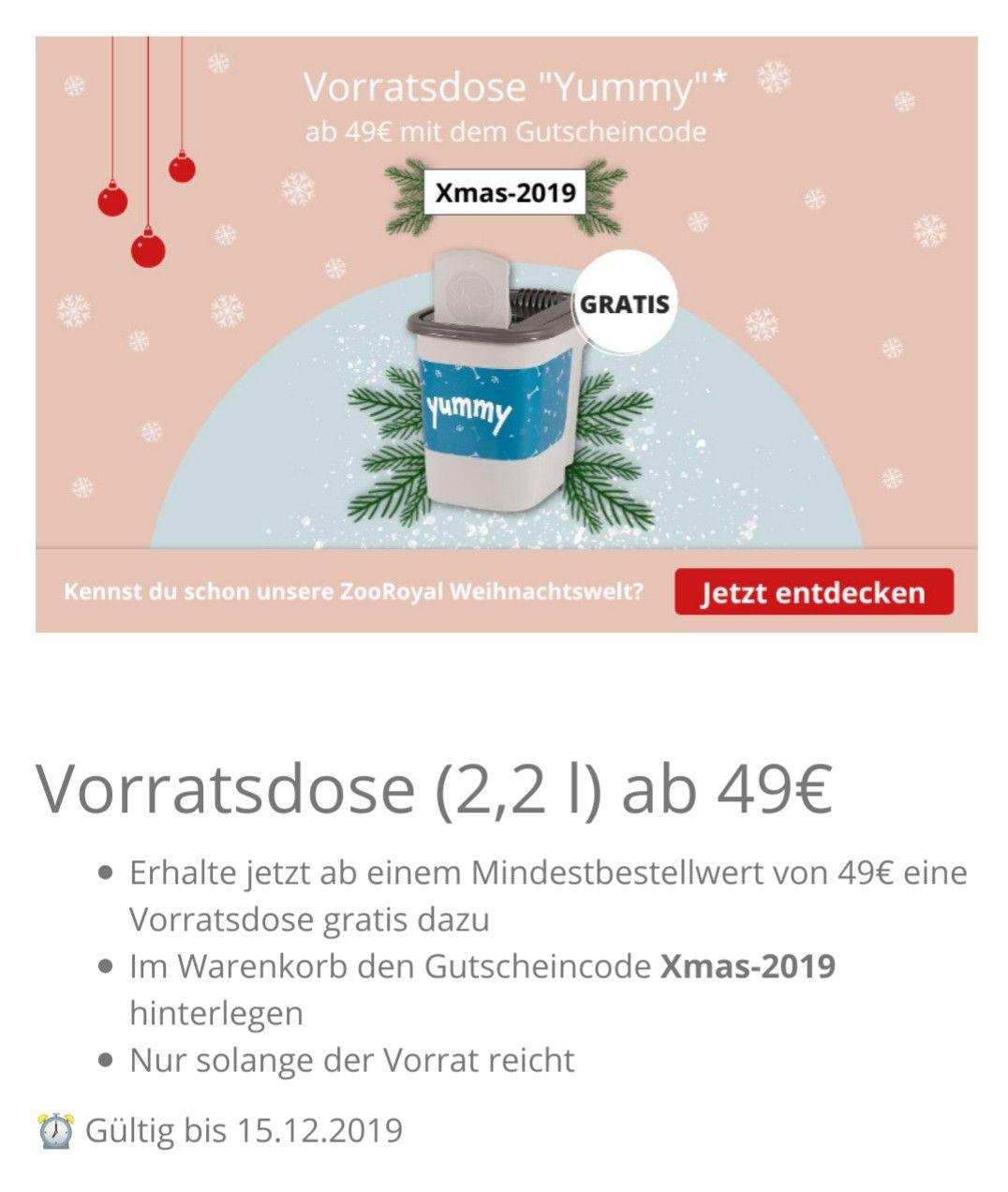 [Zooroyal.de] MBW 49€ Futterbox 2,2 l gratis dazu (Haustier, Hund, Katze)