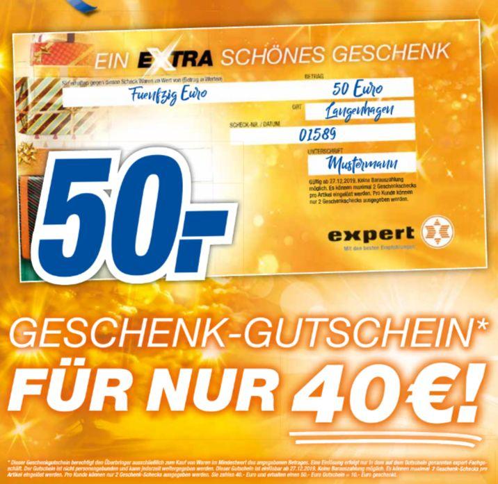 [Expert-Technikmarkt Gruppe] 50€ Geschenk-Karte für 40,-€ *Abnahme auf 2 Stück pro Kunden begrenzt*