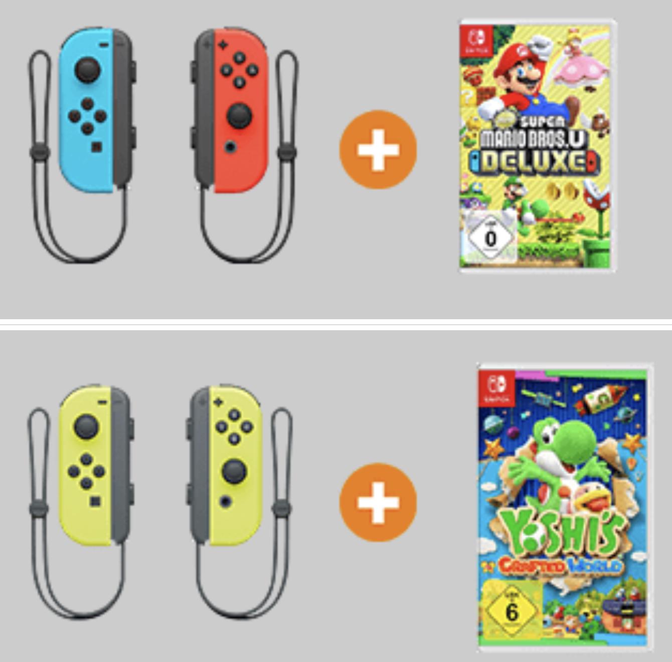 Nintendo Switch Joy-Con 2er Set + New Super Mario Bros. U Deluxe oder Yoshis Crafted World für 79€ inkl. Versandkosten mit Paydirekt