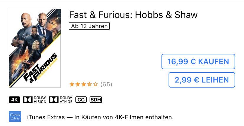 [iTunes Apple TV 4K] Leihen Fast & Furious Hobbs & Shaw