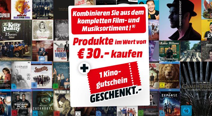 Für 30€ BluRay's, DVD's, CD, Schallblatten kaufen und pro 30€ einen Kinogutschein erhalten