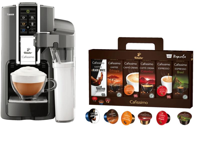 TCHIBO CAFISSIMO SAECO LATTE ARGENTO + 60 KAPSELN (ESPRESSO, TEE, FILTERKAFFEE, CAFFÈ CREMA), CAFISSIMO, KAPSELMASCHINE, SILBER