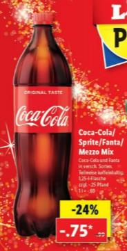 [LIDL] Coca-Cola/Fanta/Sprite/Mezzo Mix 1,25 l-Flasche 0,75€ + 0,25€ Pfand