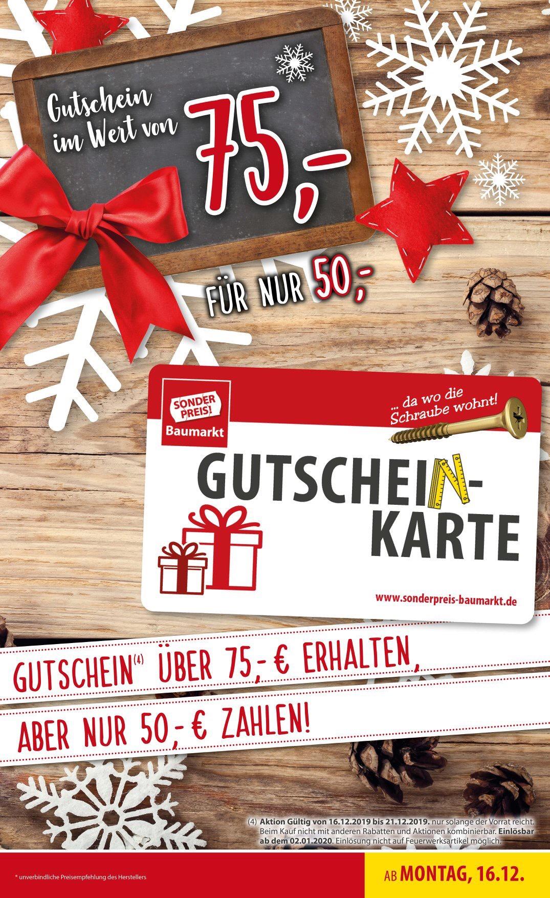 Sonder Preis Baumarkt Gutschein Aktion 75€ Guthabenkarte für 50€