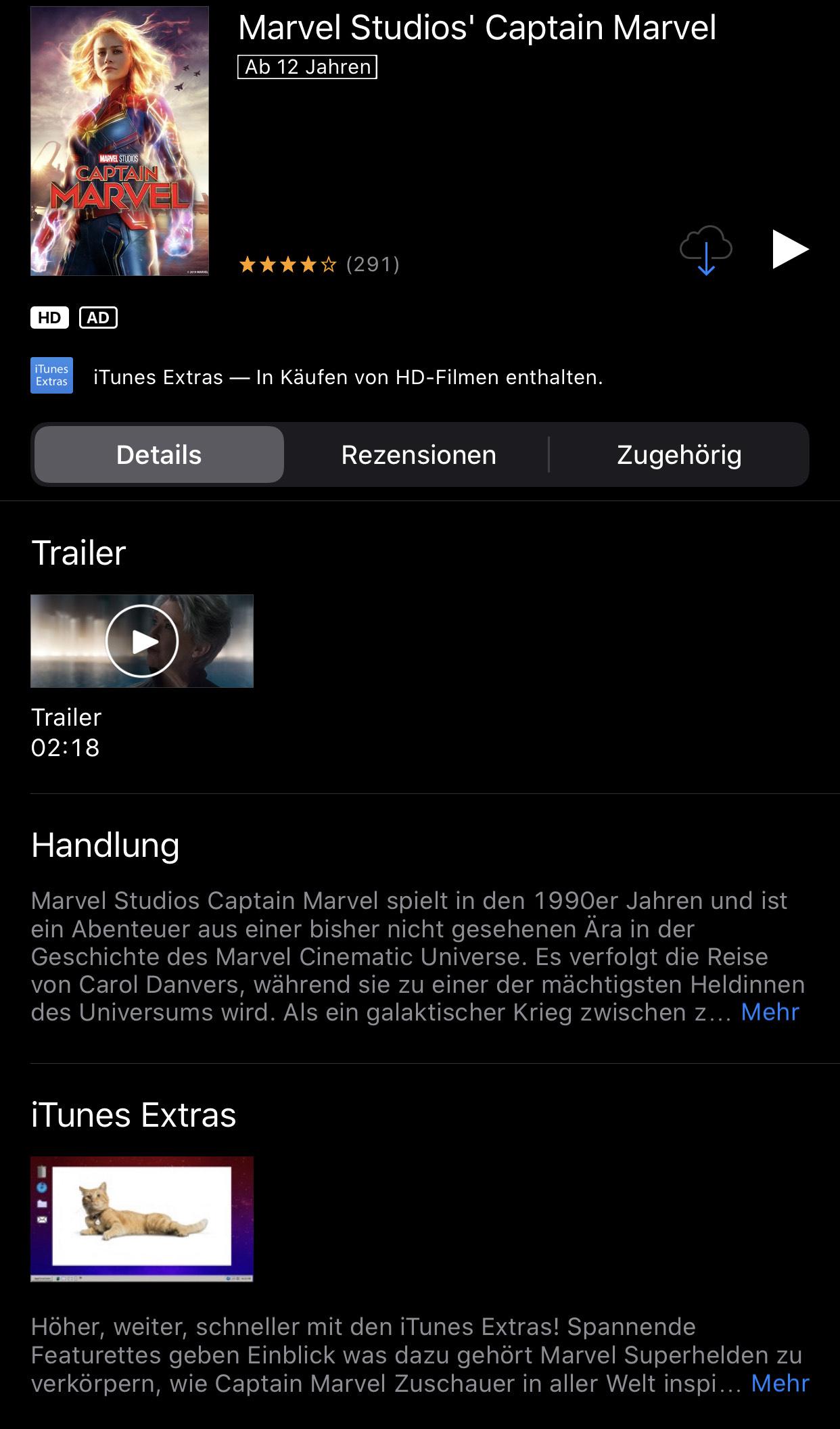 iTunes Captain Marvel heute für 3,99€