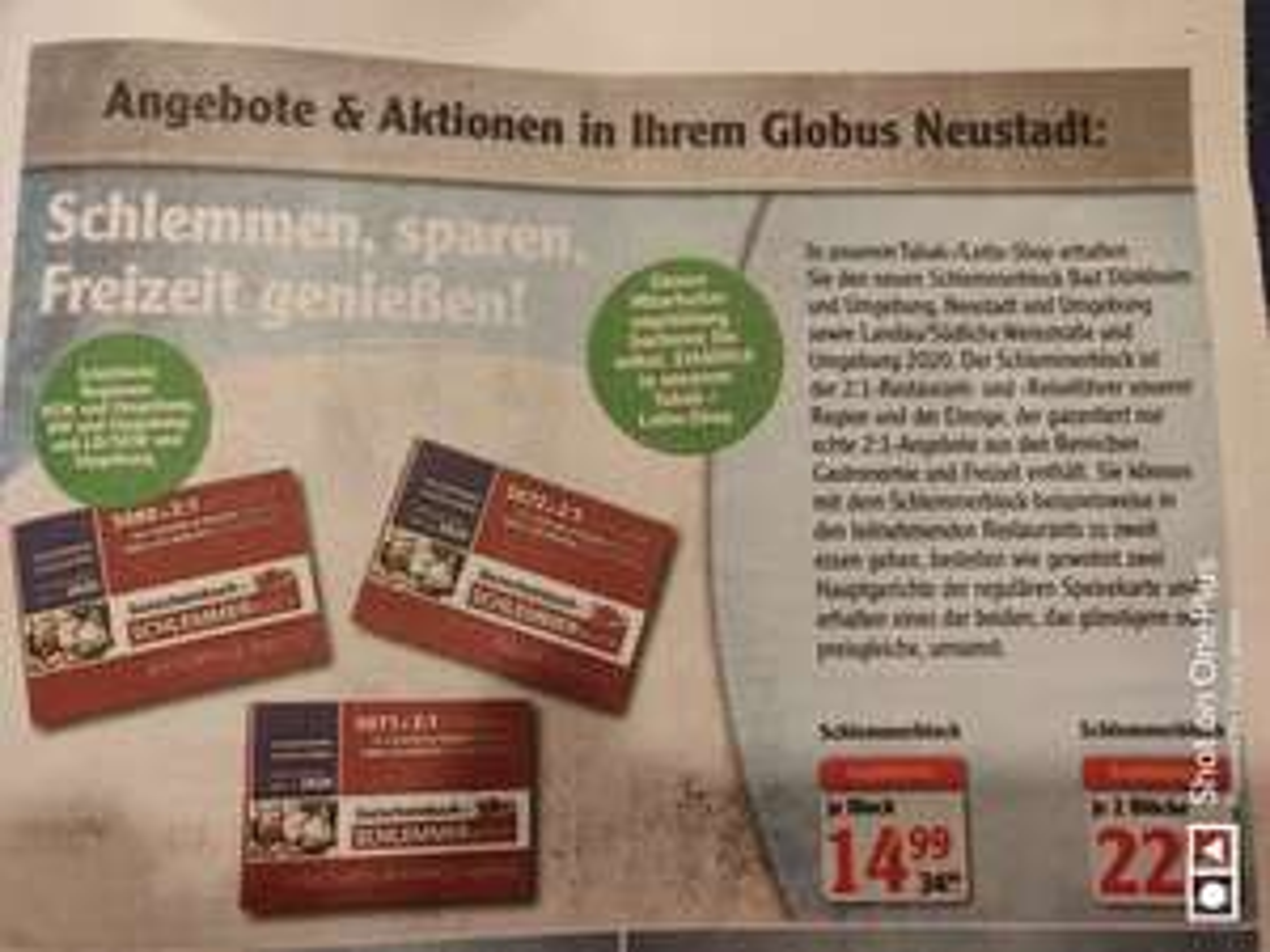 Globus Schlemmerblock 2020 (2 für 22€ ggf. Lokal Neustadt a. d. Weinstr.)