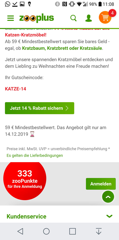 14 % Rabatt auf alle Katzen-Kratzmöbel mit MBW 59€