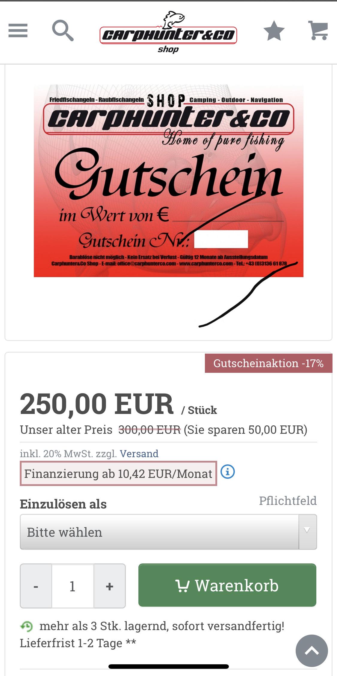 Carphunters&co.de 17% Rabatt beim Kauf von einem 300€ Gutschein