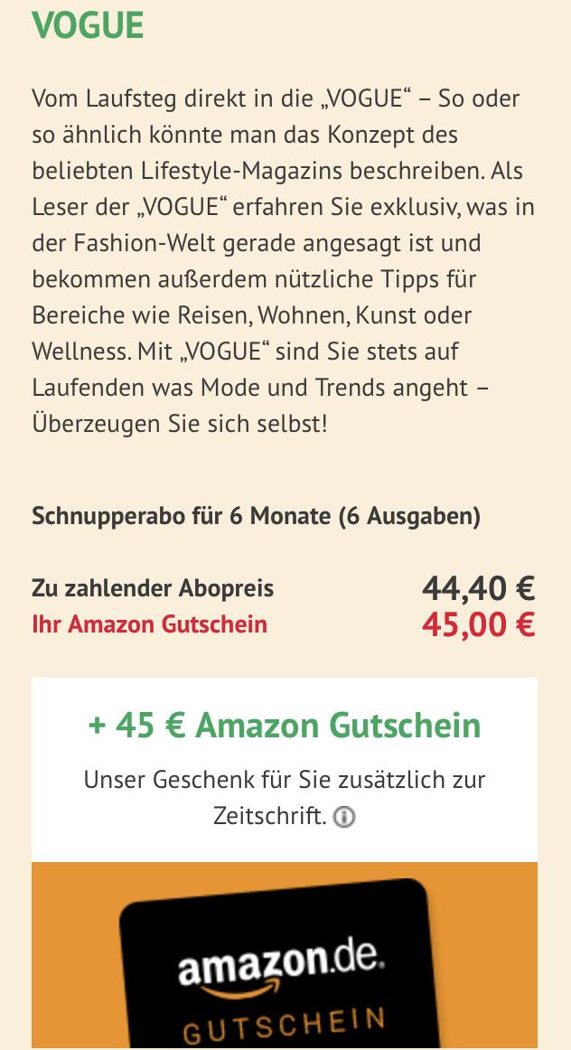 Vogue 6 Monatsabo + 45€ Amazongutschein