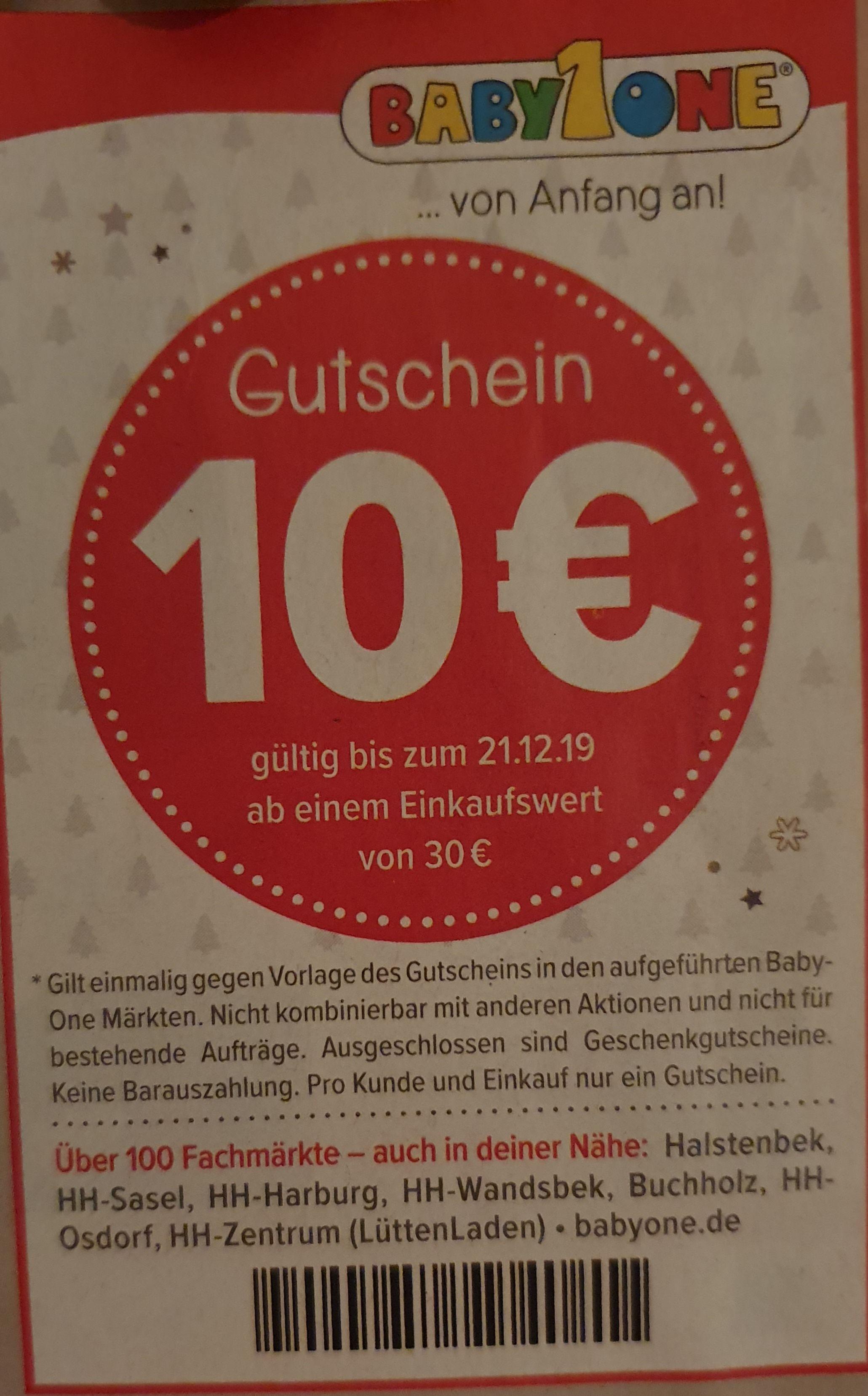 Bis 21.12. bei Babyone offline -10€ ab 30€ Einkaufswert