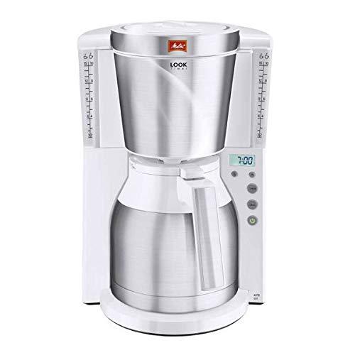 Amazon Melitta Look Timer, Filterkaffeemaschine mit Thermokanne und Timer-Funktion, AromaSelector, nur in weiß