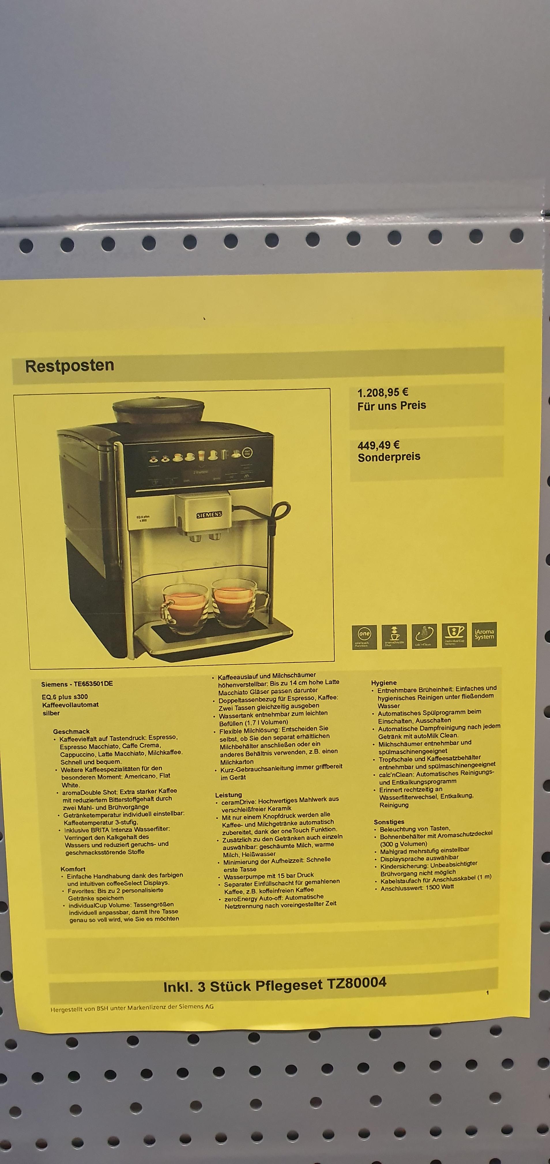 [Lokal Düsseldorf] Siemens Kaffeevollautomat EQ.6 plus s300 TE653501DE (inkl. 3x Reinigungsset)