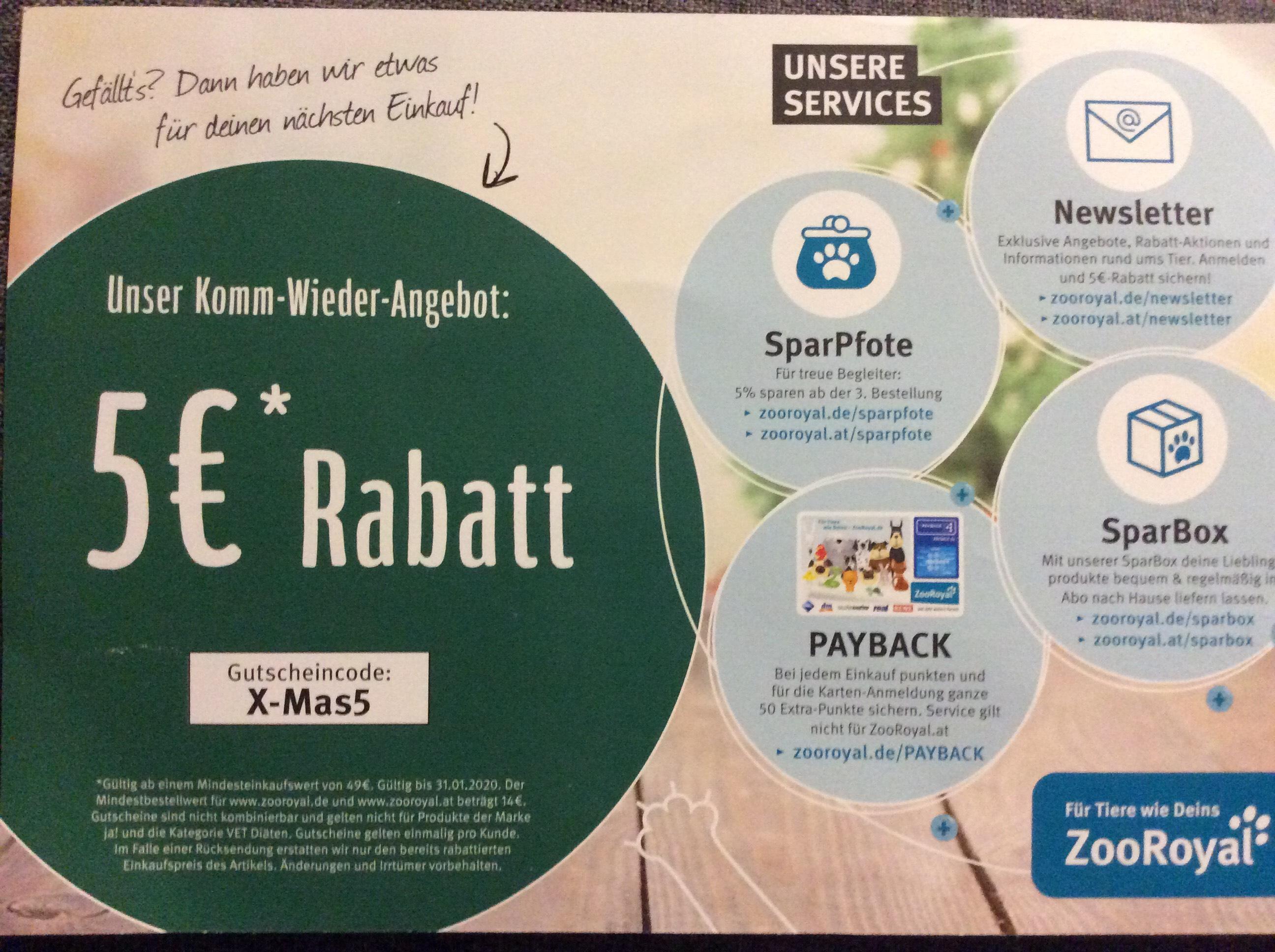 5€ Rabatt ab 49€ Einkaufswert auf zooroyal.de
