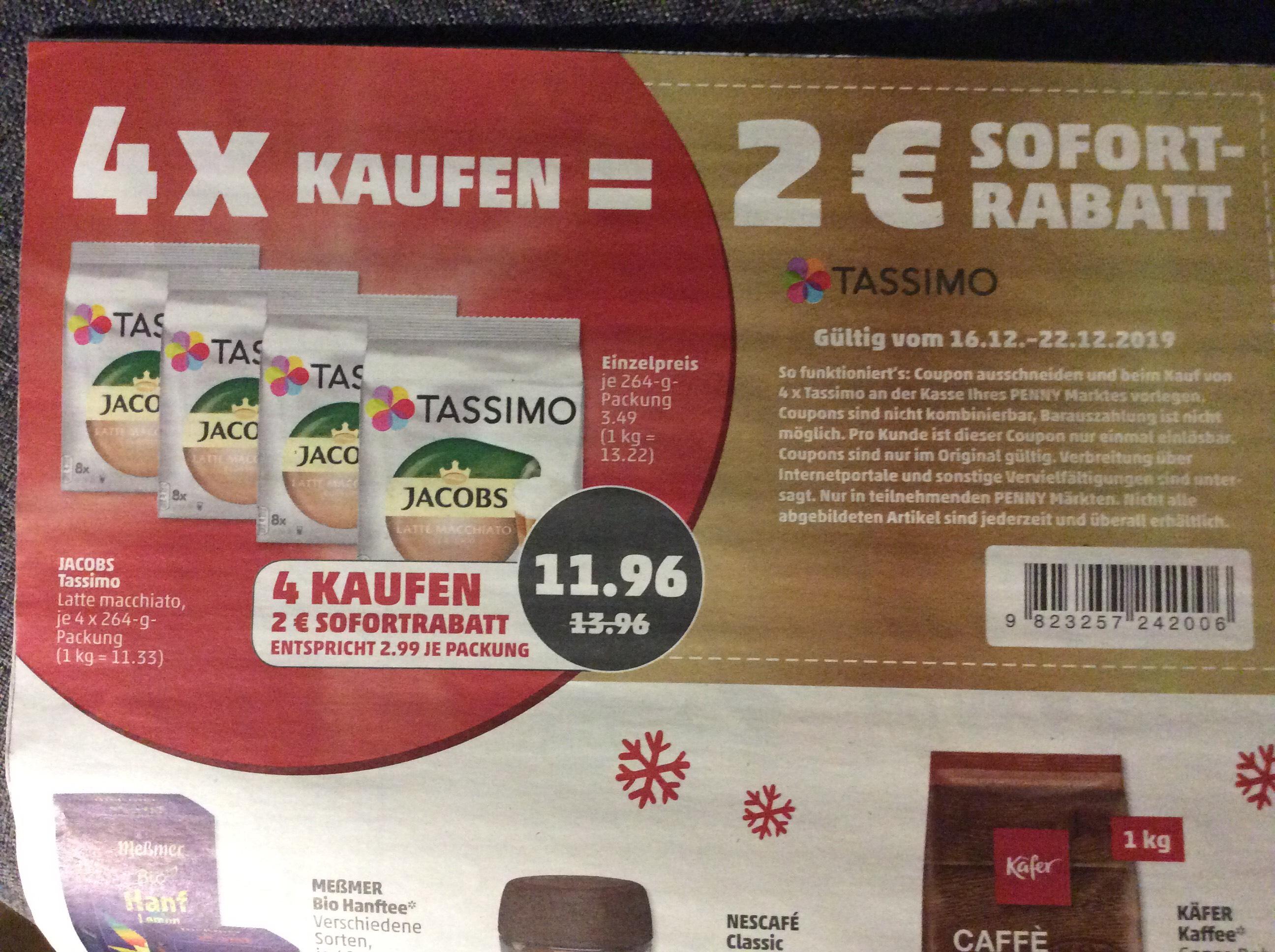 Tassimo Kapseln für 2,99€ bei Kauf von 4 Paketen / penny (16.-22.12.19)