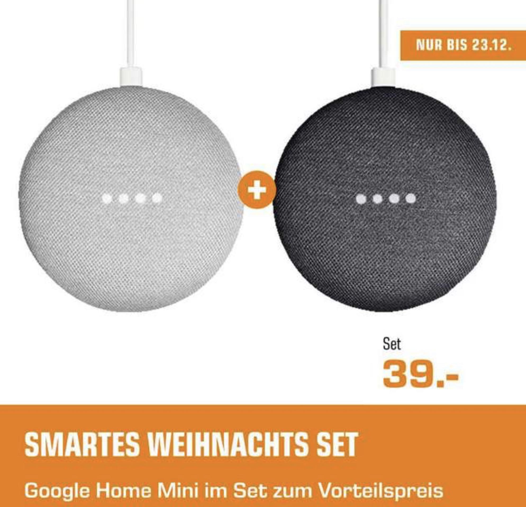 2 Stück Google Home mini für 39€ inkl. Versandkosten - [Saturn MediaMarkt]