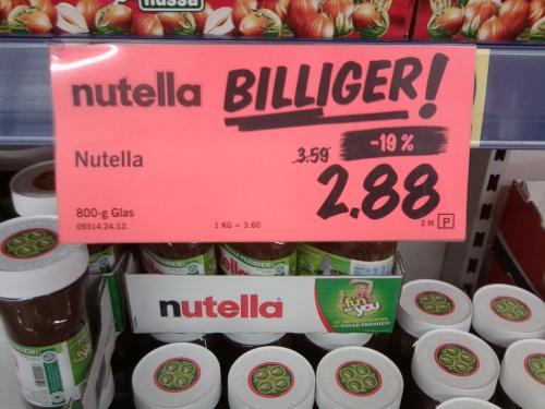 Nutella 800g für 2,88€ bei LIDL (Rinteln)