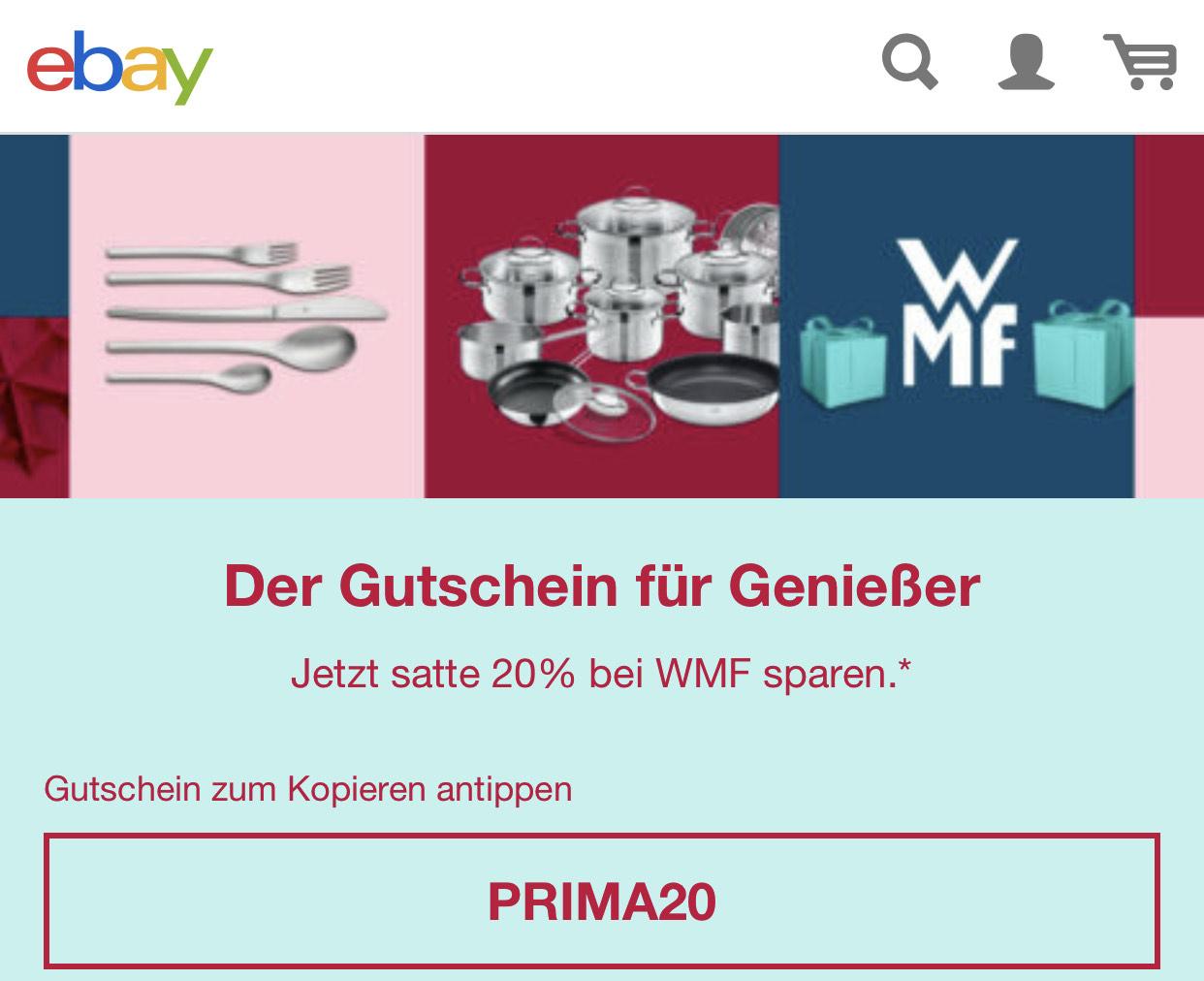 EBay - 20% bei WMF sparen gültig bis zum 31.12.19