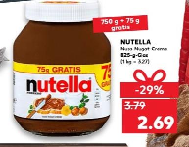 Kaufland - Nutella 825gr 2,69 Euro / Kilo - 3,27 / Crunchips - 0,79 Euro / Buitoni Teigwaren - 0,59 Euro / Milka - 0,59