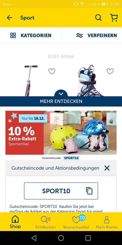 -10 bzw -15% bei mytoys online LEGO, Mattel und Bewegungsspiele, Fahrräder usw.