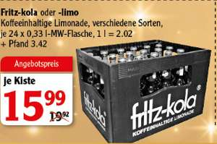 [Globus Rostock] Kasten Fritz Kola / Brause - 24 Flaschen - je Flasche 66 Cent