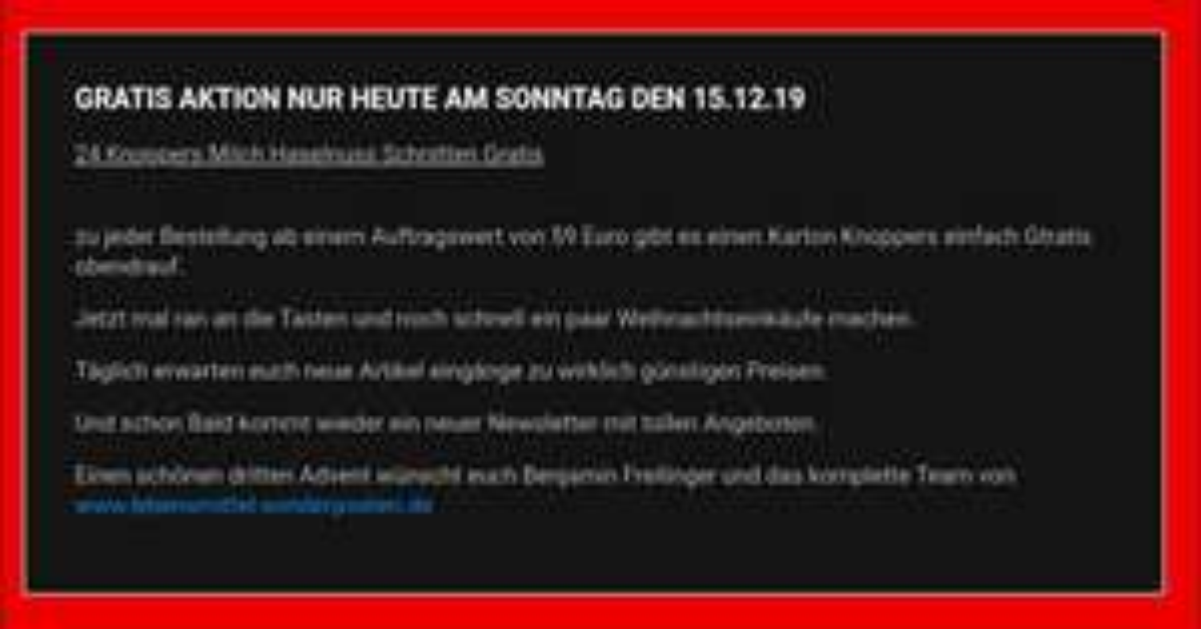 [www.lebensmittel-sonderposten.de] Einen Karton (24 Stück) Knoppers GRATIS für jede Bestellung über 59€