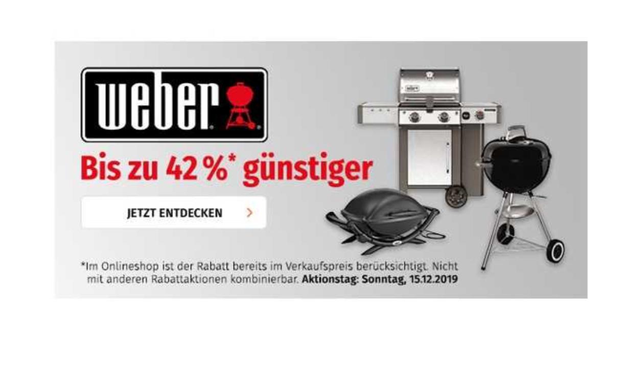 Nur heute bei Müller.de: 20% Rabatt auf alle Artikel der Marke Weber