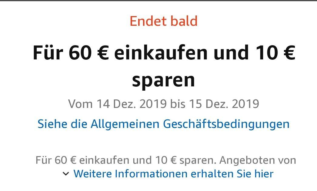 [Amazon Prime] Für 60 € einkaufen und 10 € sparen, vom 14.12.2019 bis 15.12.019 (300 Produkte, bekannte Marken, Angeboten von Amazon.de)