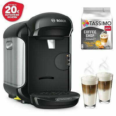 Bosch TASSIMO Vivy 2 Kapselmaschine schwarz + 2 WMF Gläser & Toffee Nut Latte