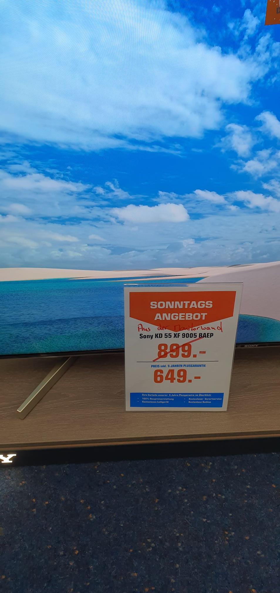Saturn Oberhausen verkaufsoffenen Sonntag Sony kd 55 xf 9005 inklm 5 Jahre Garantie aus monitorwand Bestpreis nur regional