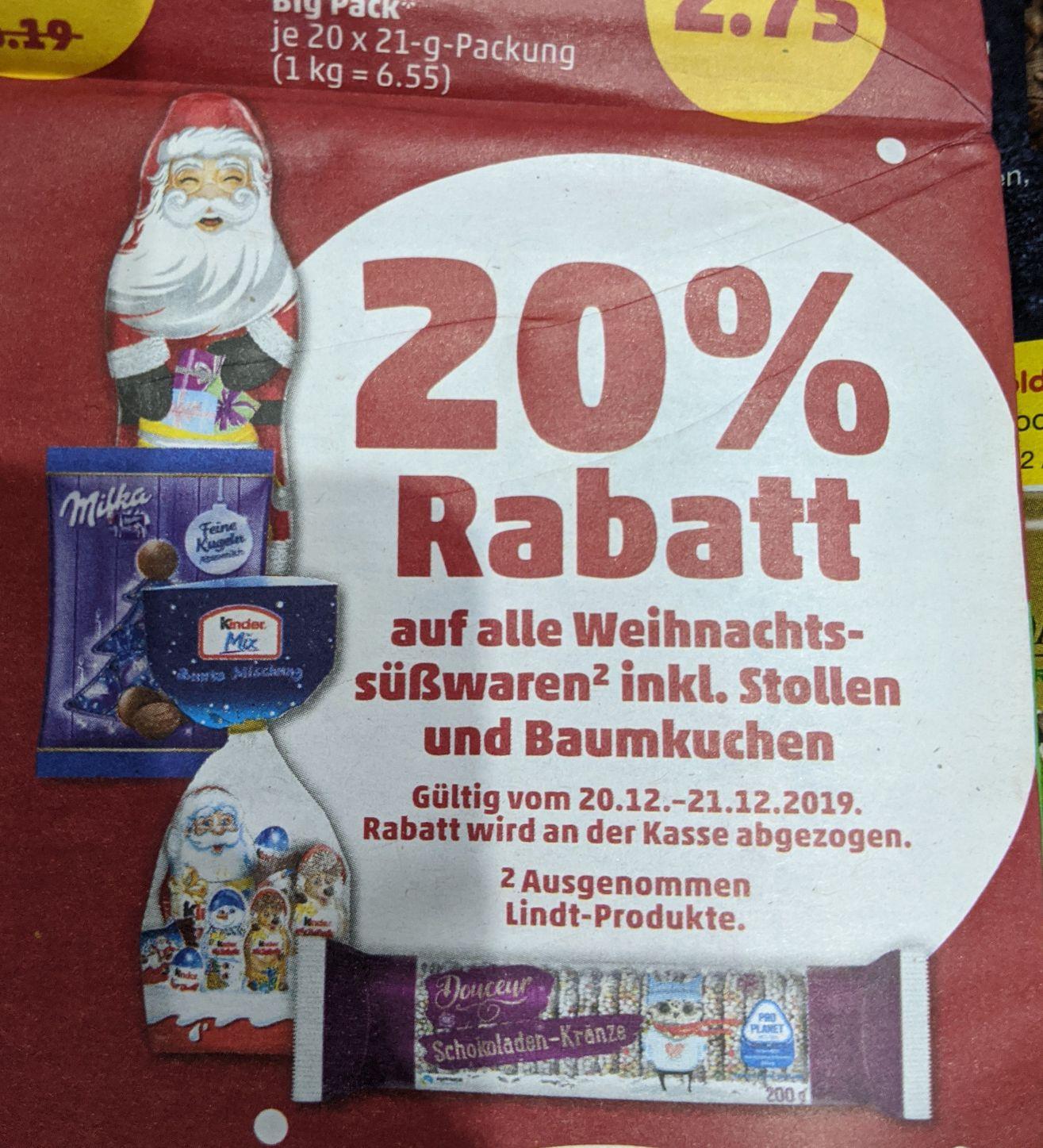 20% bei Penny auf alle Weihnachtssüßwaren (ausgenommen Lindt)