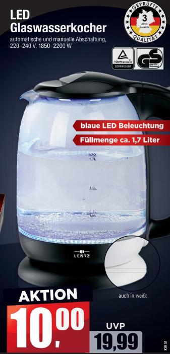 Lentz GlasWasserkocher mit blauer LED- Beleuchtung, 1,7 Liter, 2200W [Mäc Geiz]