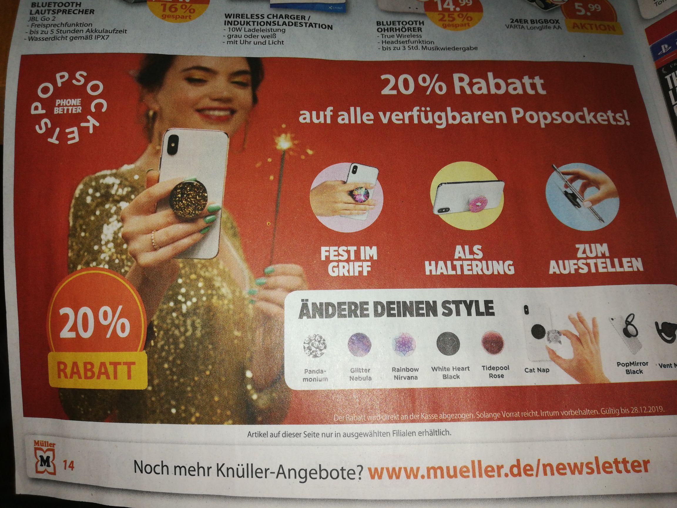 20% Rabatt auf alle verfügbaren Popsockets bei Müller