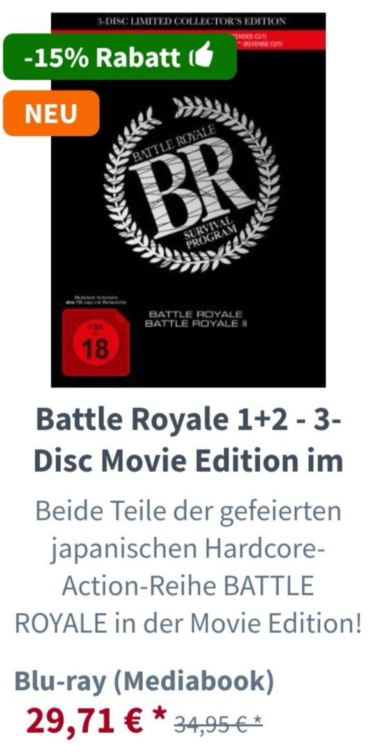 Battle Royale 1+2 - 3 Disc Movie Edition im Mediabook