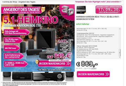 [T-Online] Harman Kardon  BDS 770 5.1 Heimkinosystem -> 849€ (Idealo 899€) + Qipu (828,62€)