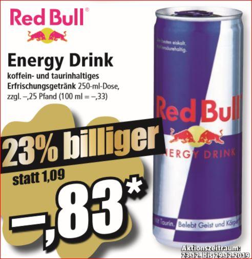 Red Bull 250ml Dose für 83 Cent / 2 Kästen Franziskaner Hefe-Weißbier für 19,60 Euro [ Norma, nicht bundesweit ]