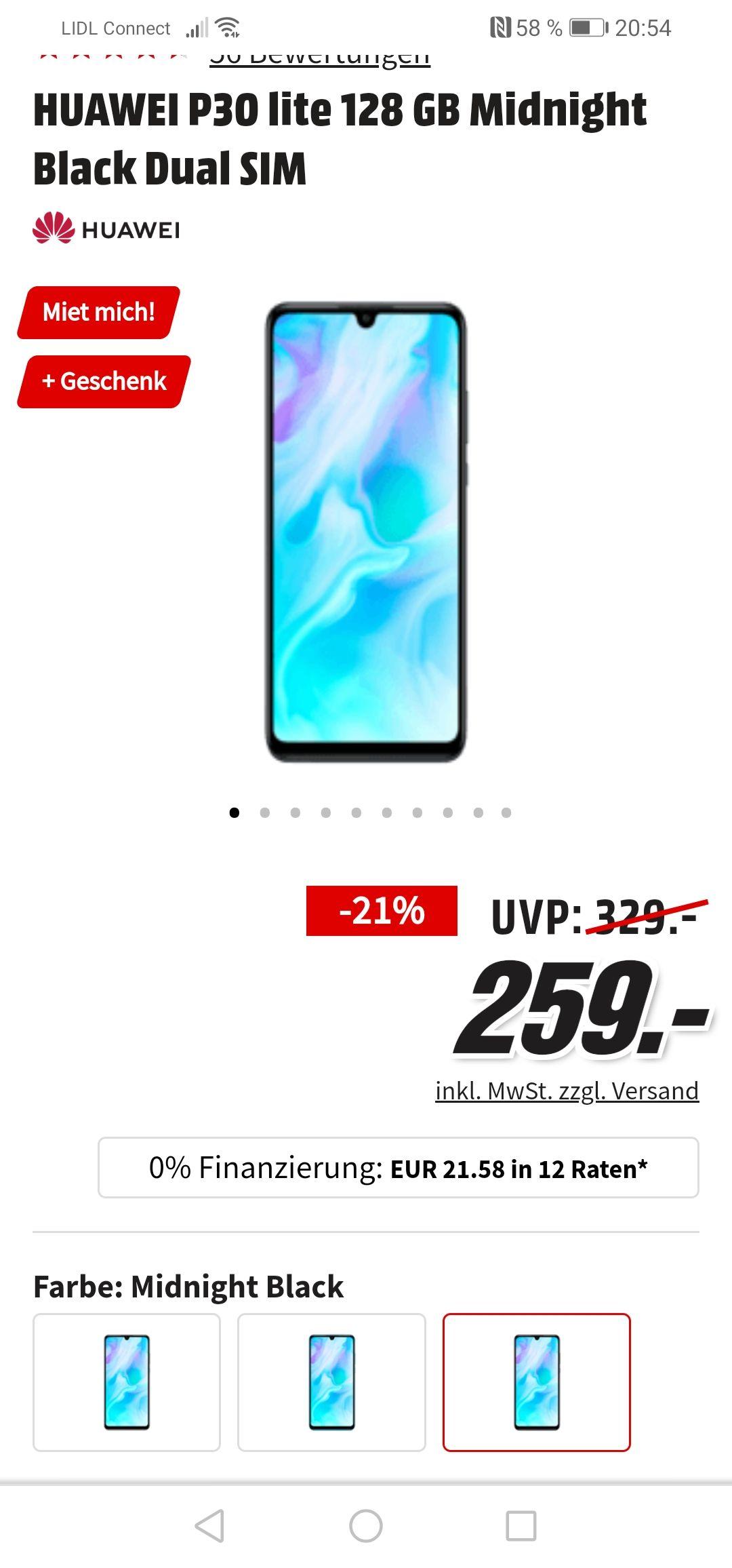 Huawei P30 Lite Smartphone inkl. Gratis-Fotodruckerfür nur 259 Euro