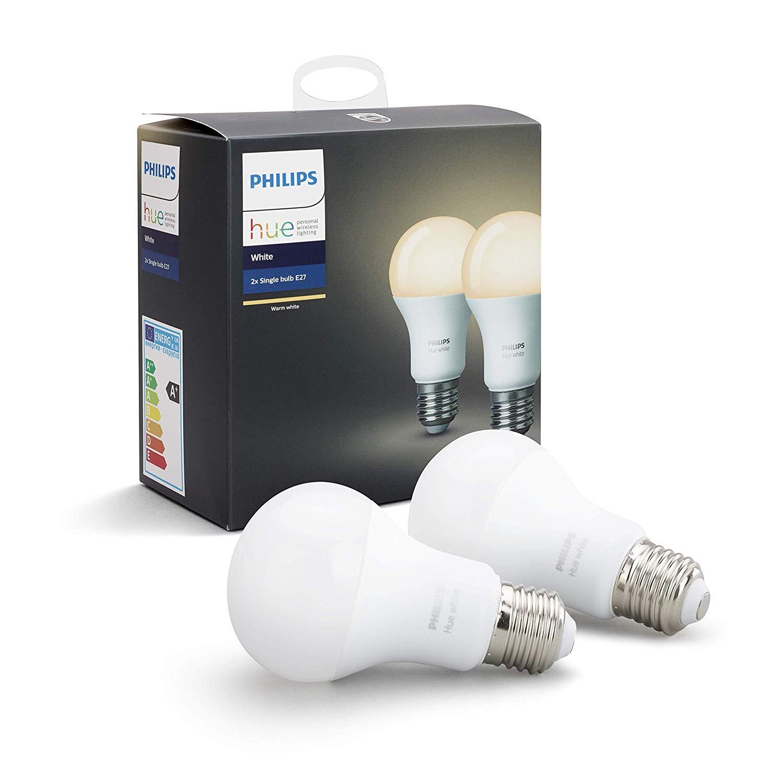 Philips Hue White E27 LED Lampe Doppelpack, steuerbar via App [Amazon Prime]