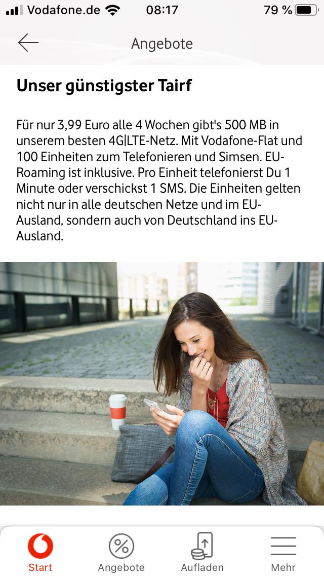 Prepaid: Vodafone CallYa Start - 500 MB (mit App 600 MB), 100 Freieinheiten 3,99 EUR pro 4 Wochen