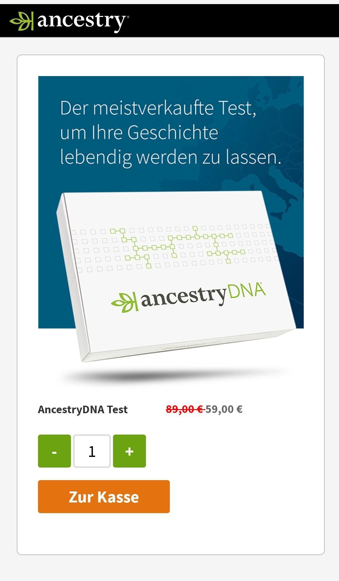 Ancestry DNA Test zur Ahnenforschung 59€, bei zwei Tests versandkostenfrei