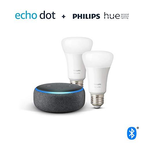 (Prime) Echo Dot (3.Gen.) + Philips Hue White Doppelpack (E27), kompatibel mit Bluetooth und Zigbee (kein Hub erforderlich) Color für 79,99€