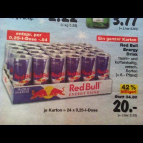 Red Bull bei Kaufland für 84Cent (bei Kartonabnahme 24x250ml)