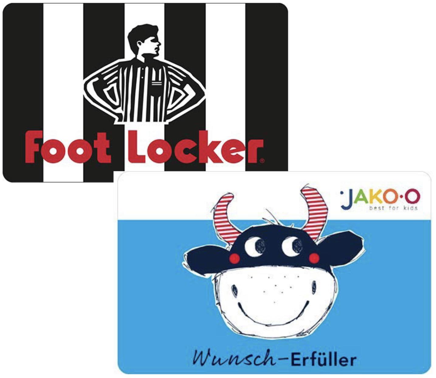 15% Rabatt auf Geschenkkarten von Foot Locker u. JAKO-O [Amazon]