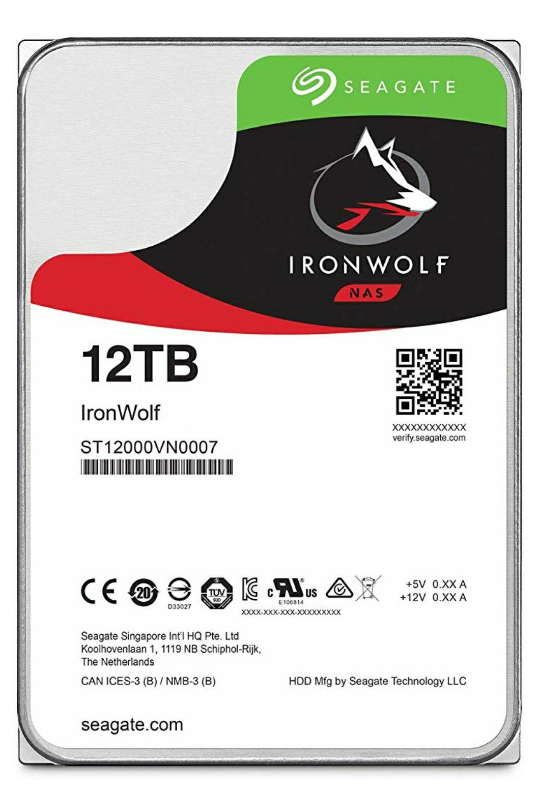 SeagateST12000VNZ007 IronWolf 12 TB NAS HDD interne Festplatte (8,9 cm (3,5 Zoll), 7200 u/min, 256 MB Cache, SATA 6 GB/s, silber