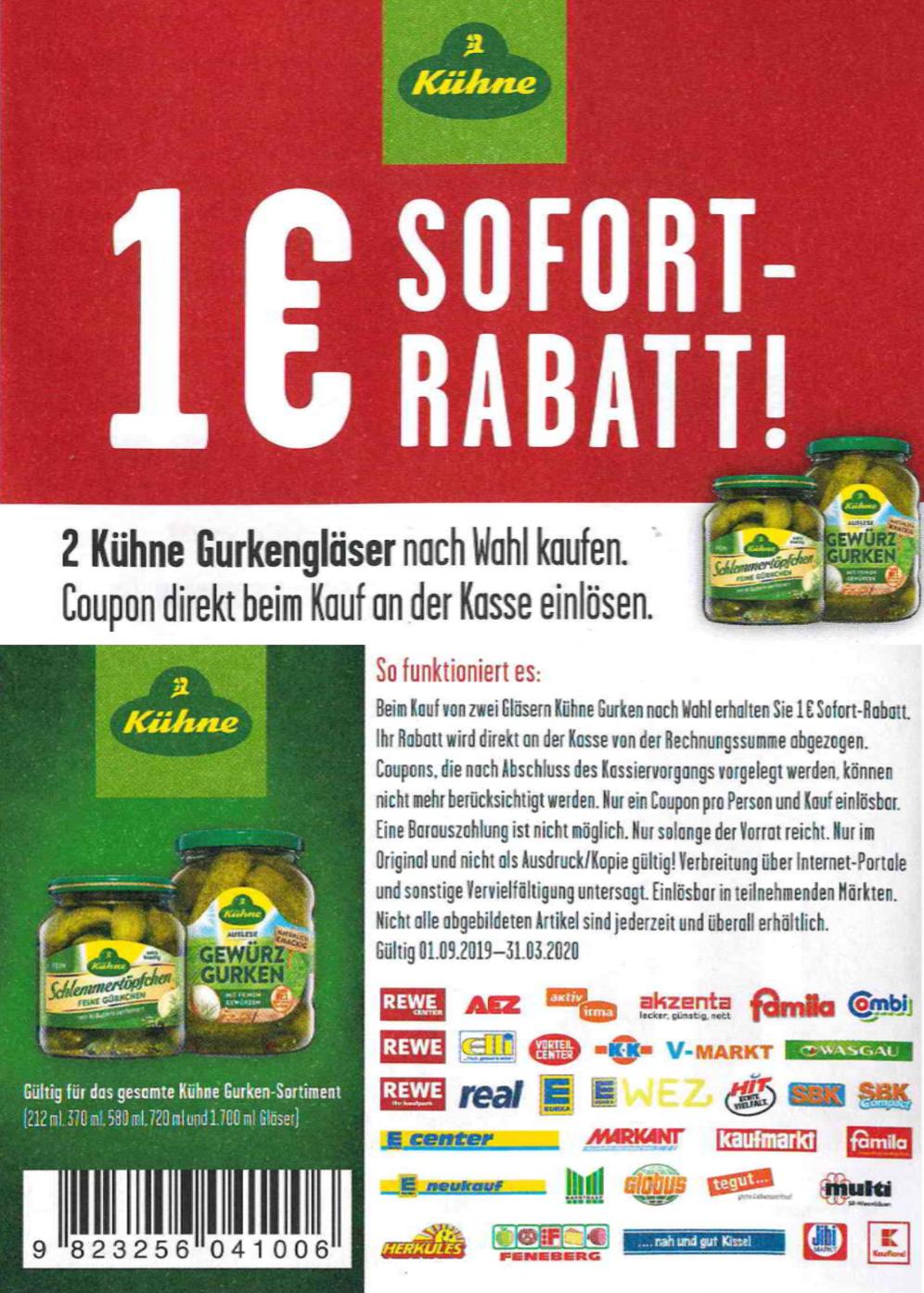 1€ Coupon für den Kauf von 2 Gläsern Kühne Gurken bis zum 31.03.2020